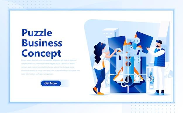 Modello piano della pagina di atterraggio di concetto di affari di puzzle del homepage Vettore Premium