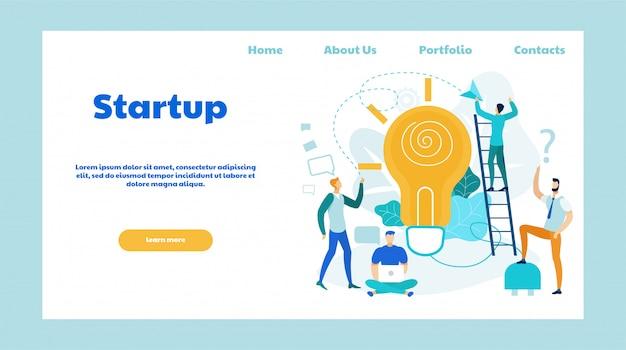 Modello piano della pagina di atterraggio di vettore di idee startup Vettore Premium