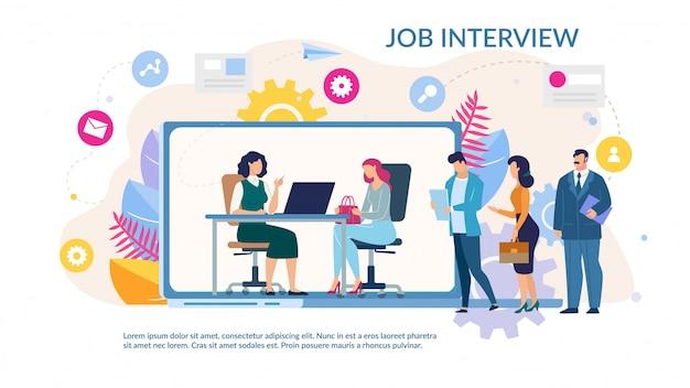 Modello piatto alla moda di job interview service online Vettore Premium
