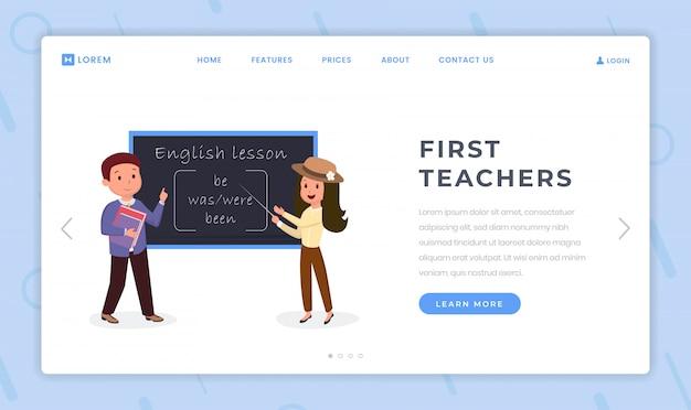 Modello piatto della pagina di destinazione per i primi insegnanti Vettore Premium