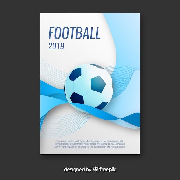 Modello piatto di poster di calcio Vettore gratuito