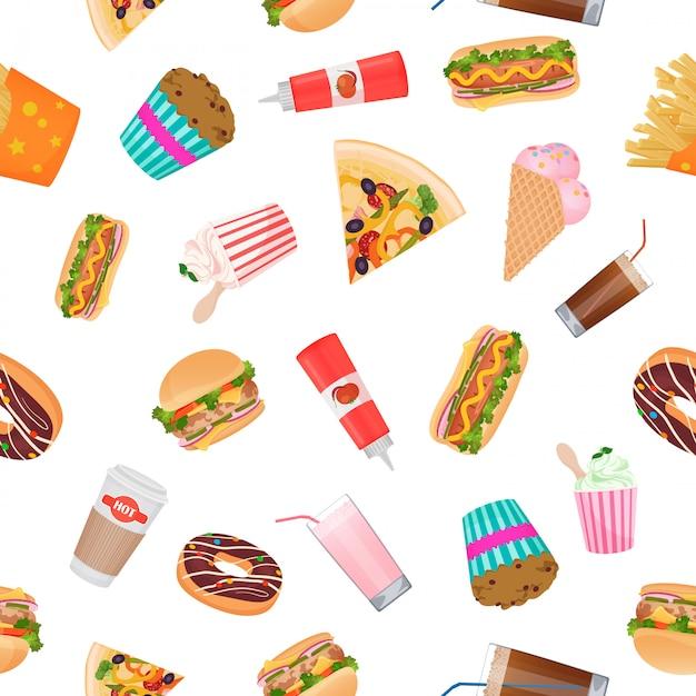 Modello piatto realistico di fast food Vettore Premium