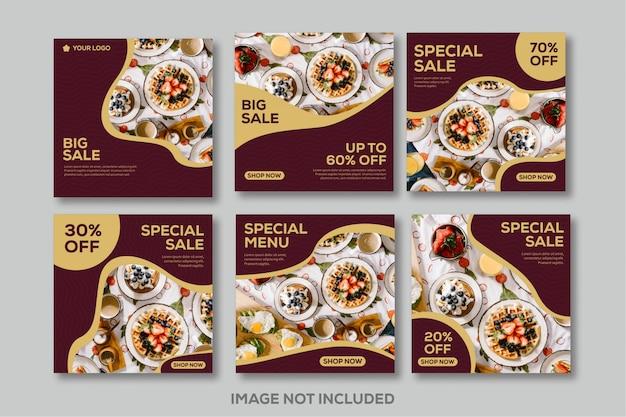 Modello post di feed di instagram social media food ristorante di lusso in oro rosso Vettore Premium