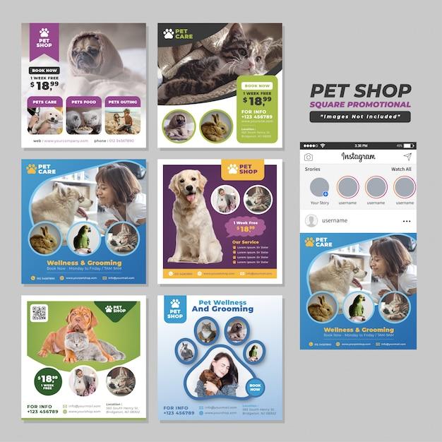 Modello promozionale di social media square per pet shop Vettore Premium