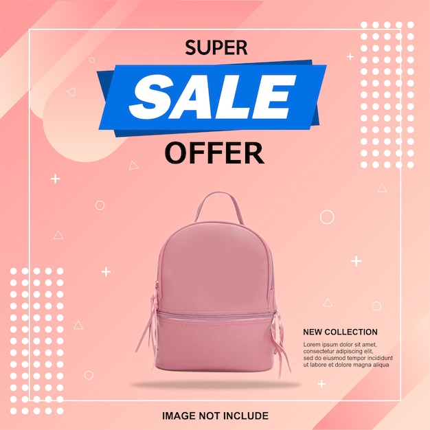 Modello quadrato di banner di vendita Vettore Premium