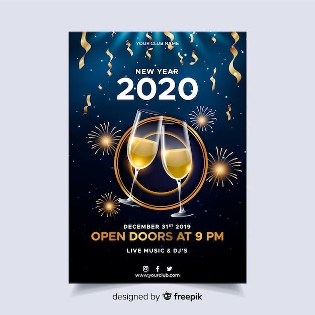 Modello realistico del manifesto del partito del nuovo anno 2020 Vettore gratuito