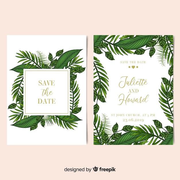 Modello realistico dell'invito di nozze della struttura delle foglie di palma Vettore gratuito