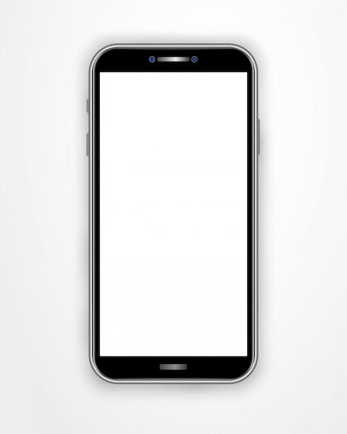 Modello realistico dello smartphone con lo schermo in bianco isolato su fondo bianco. Vettore Premium