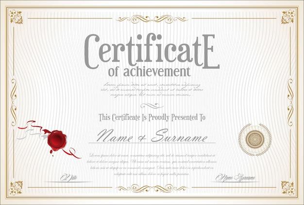 Modello retrò certificato o diploma Vettore Premium