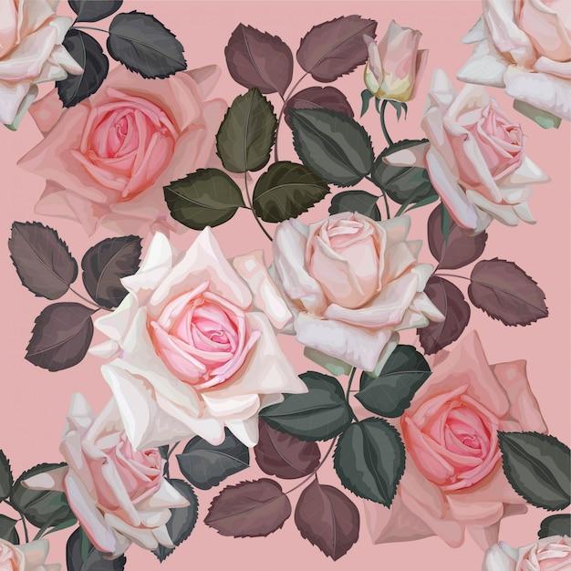 Modello rosa rosa senza soluzione di continuità Vettore Premium