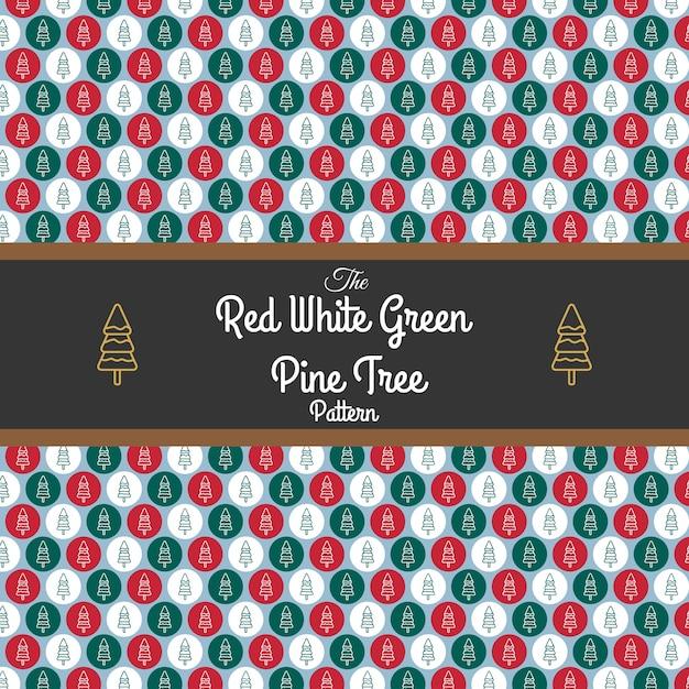 Modello rosso bianco verde albero di pino Vettore Premium