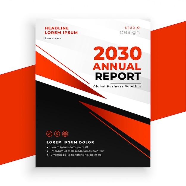 Modello rosso moderno della pagina dell'opuscolo del rapporto annuale Vettore gratuito