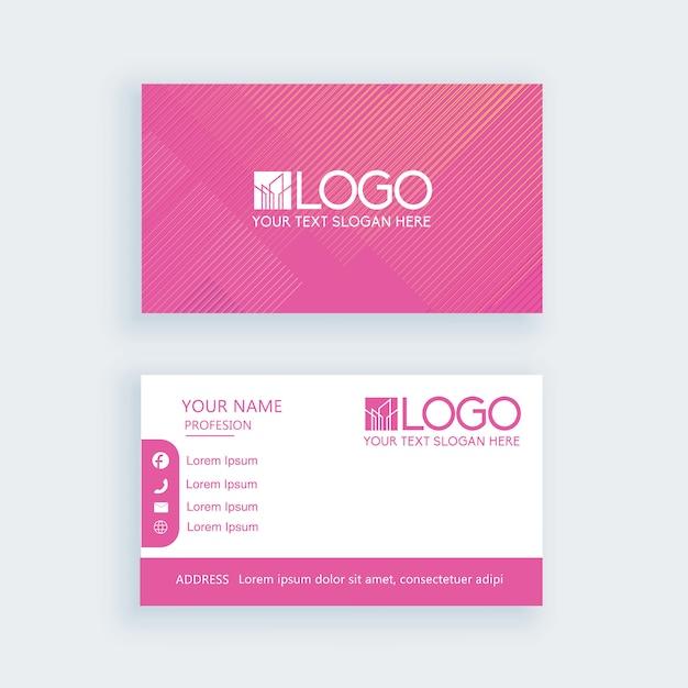 Modello semplice biglietto da visita rosa o biglietto da visita Vettore Premium