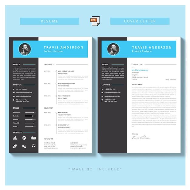 Modello semplice moderno per curriculum e lettera di presentazione Vettore gratuito