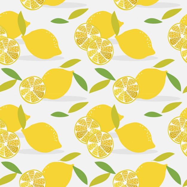 Modello senza cuciture a fette di limone. Vettore Premium
