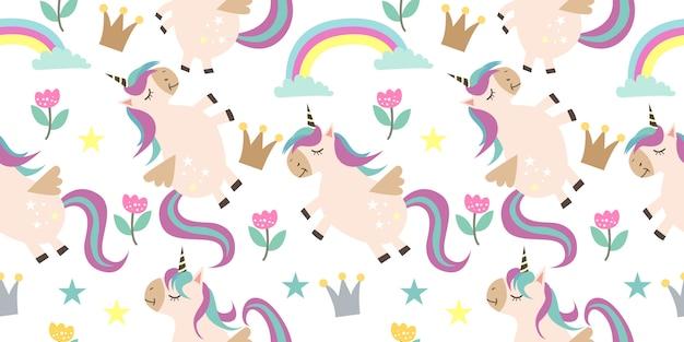 Modello senza cuciture adorabile unicorno Vettore Premium
