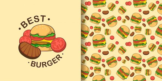 Modello senza cuciture animale dell'hamburger sveglio con la carta del bambino dell'illustrazione Vettore Premium