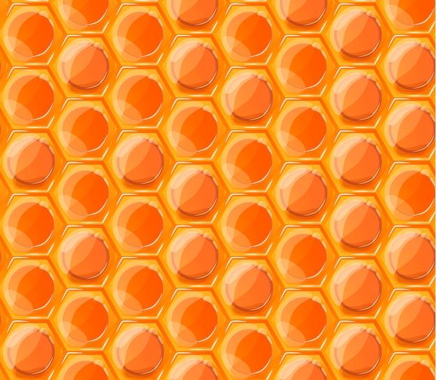 Modello senza cuciture arancio brillante saporito miele favi Vettore Premium