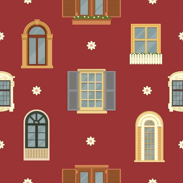 Modello senza cuciture architettonico con windows dell'annata dettagliata Vettore Premium