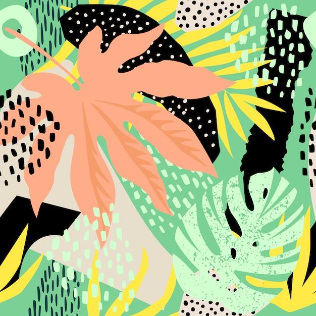Modello senza cuciture astratto con foglie tropicali. mano disegnare trama. modello vettoriale Vettore Premium