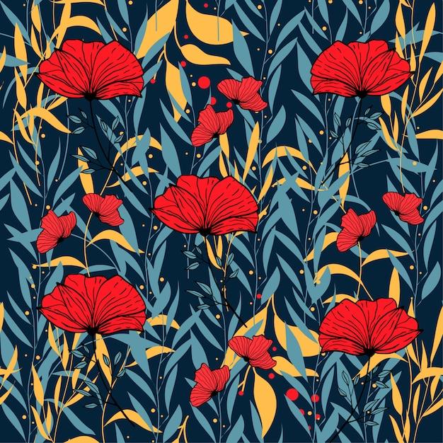 Modello senza cuciture astratto con le foglie e i fiori tropicali variopinti sul blu Vettore Premium