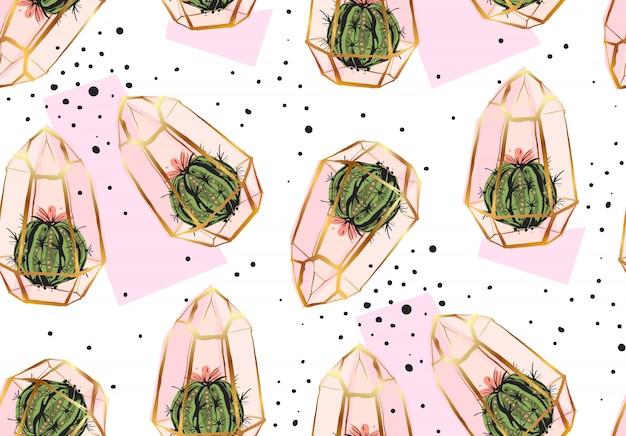 Modello senza cuciture astratto disegnato a mano con terrario dorato, trama a pois e piante di cactus nei colori pastelli su bakground bianco. per decorazione, moda, tessuto, carta da imballaggio. Vettore Premium