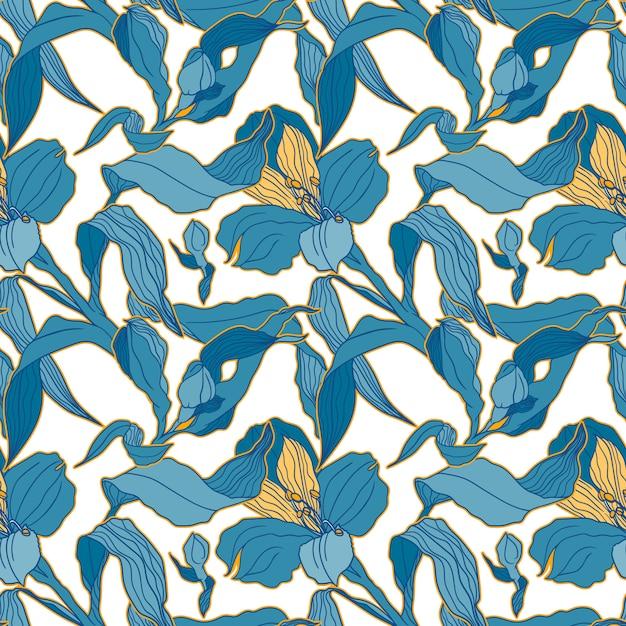 Modello senza cuciture blu chiaro con germogli e fiori di alstroemeria ad alta detalised Vettore Premium