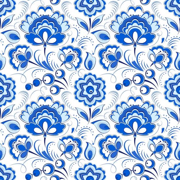 Modello senza cuciture blu floreale in stile country russo Vettore Premium