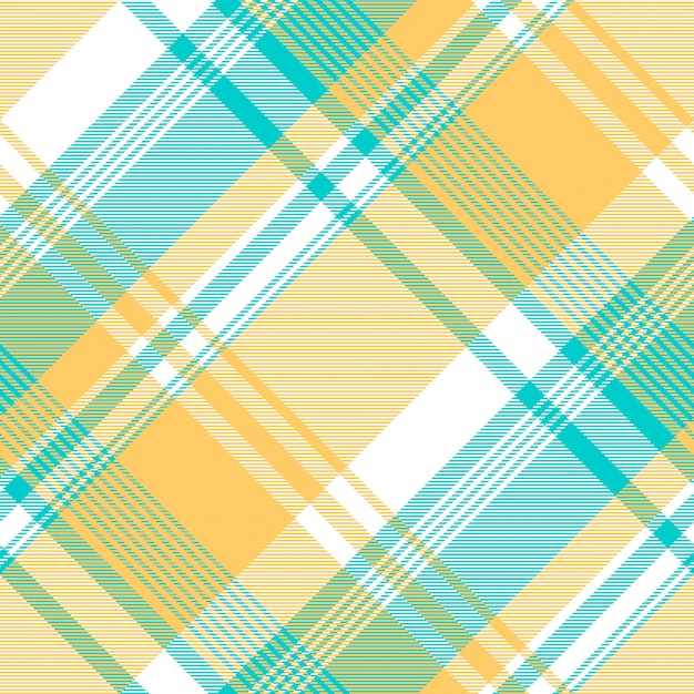Modello senza cuciture blu tovaglia check colore giallo chiaro Vettore Premium