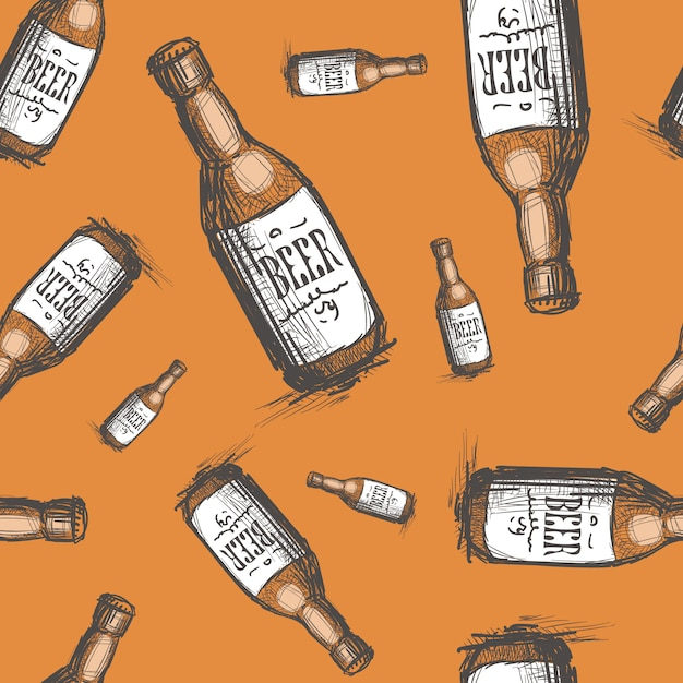 Modello senza cuciture bottiglia di birra Vettore Premium
