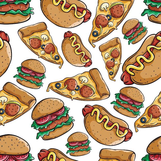 Modello senza cuciture carino fetta di pizza, hamburger e hot dog Vettore Premium