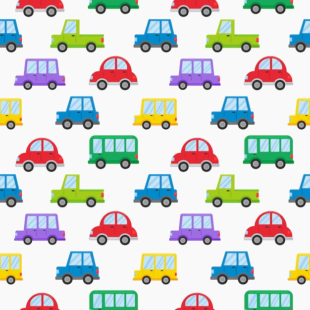 Modello senza cuciture colorato trasporto carino auto stile cartoon isolato su bianco Vettore Premium