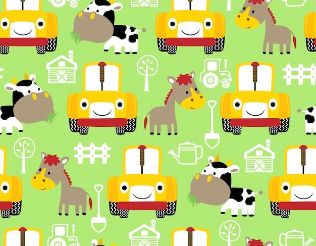 Modello senza cuciture con animali da fattoria fumetto e trattore Vettore Premium