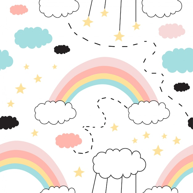 Modello senza cuciture con arcobaleno carino, stelle, nuvole. Vettore Premium