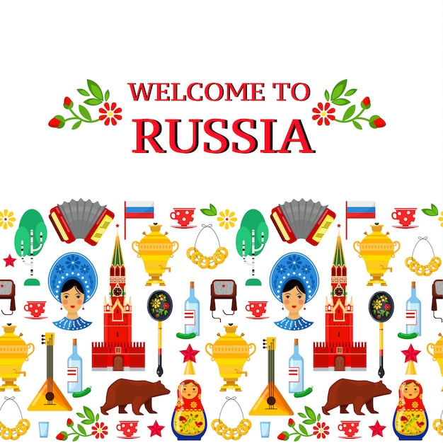 Modello senza cuciture con attributi russi tradizionali su sfondi bianchi Vettore Premium