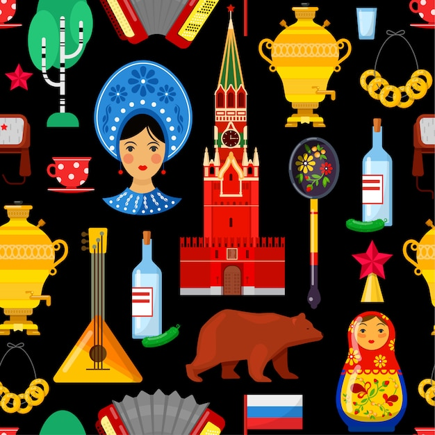 Modello senza cuciture con attributi russi tradizionali Vettore Premium