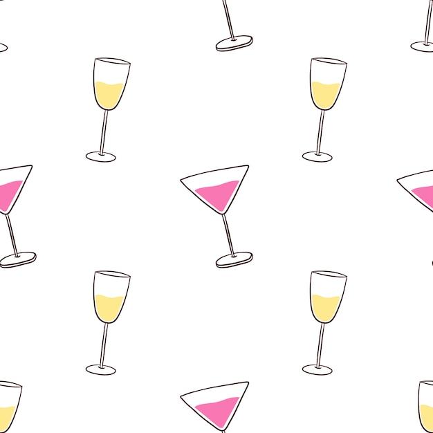 Modello senza cuciture con bevande alcoliche cocktail e champagne Vettore Premium