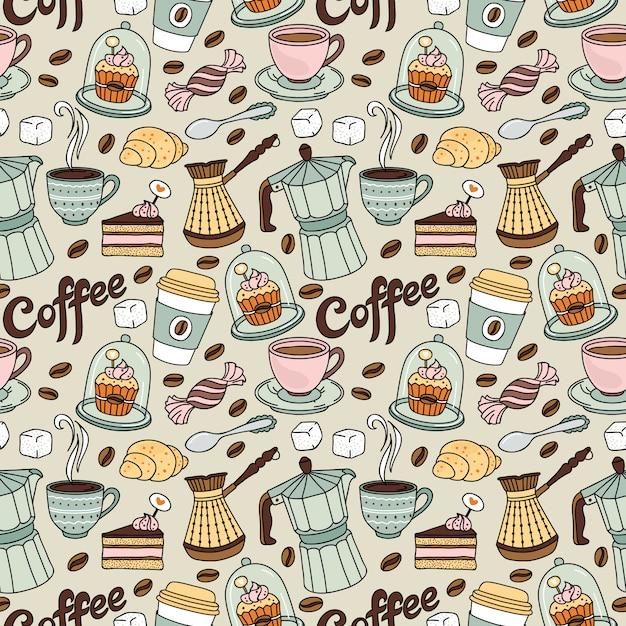 Modello senza cuciture con caffè e dolce. sfondo di caffè Vettore Premium