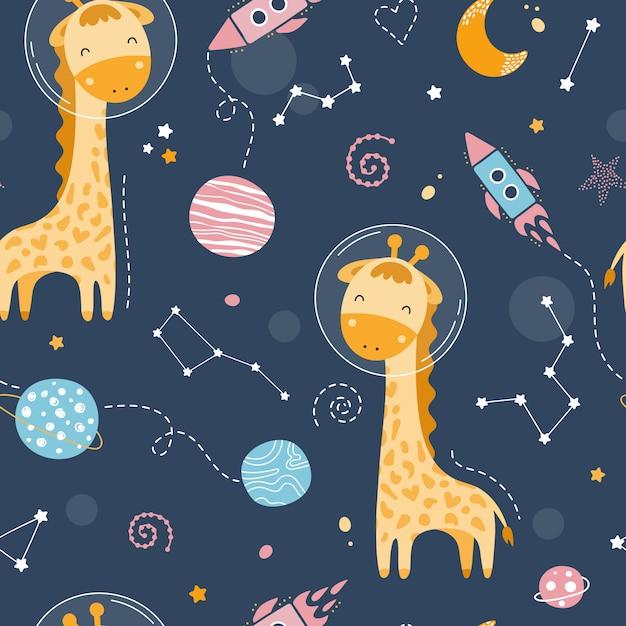 Modello senza cuciture con carina giraffa nello spazio Vettore Premium