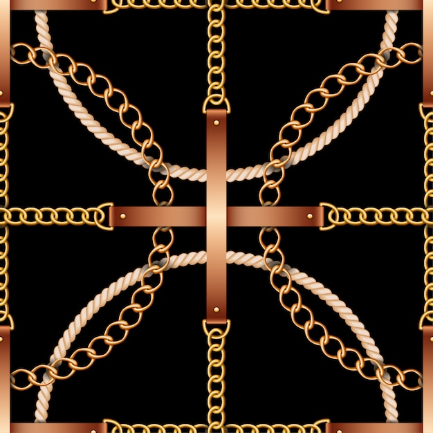 Modello senza cuciture con cinture, catene e corda sul nero Vettore Premium