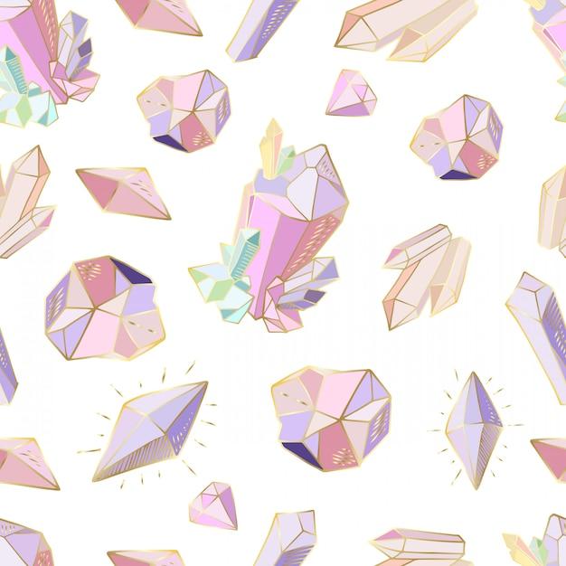 Modello senza cuciture con cristalli, gemme Vettore Premium