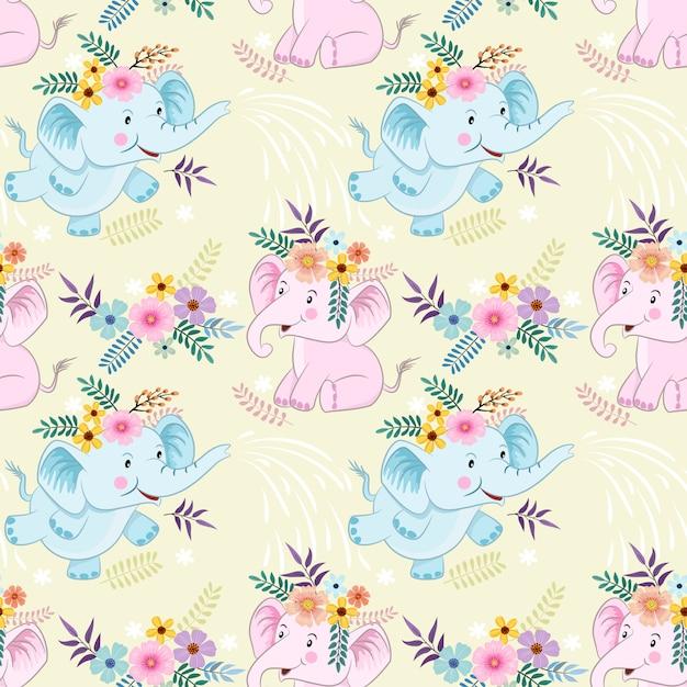 Modello senza cuciture con cute cartoon elefanti e fiori tessuto texyile. Vettore Premium