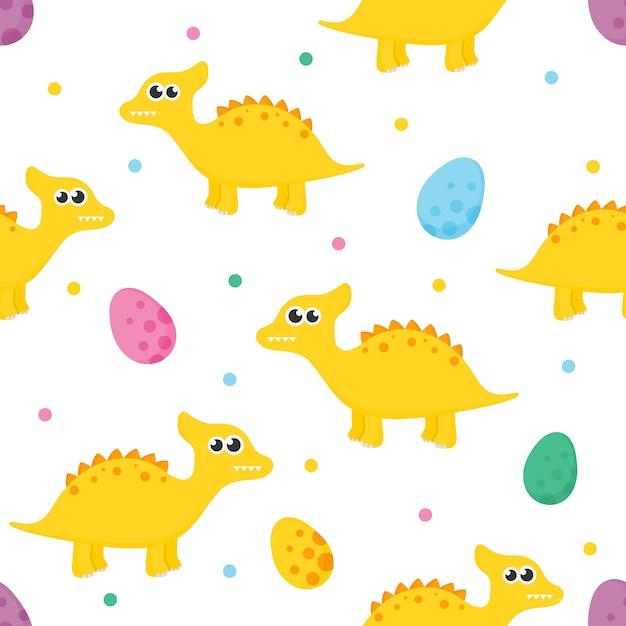Modello senza cuciture con dinosauro simpatico cartone animato e uova per bambini. animale su sfondo bianco. Vettore Premium