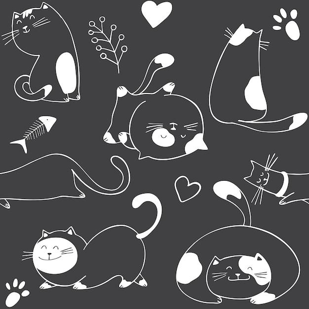 Modello senza cuciture con diversi gatti su sfondo nero Vettore Premium