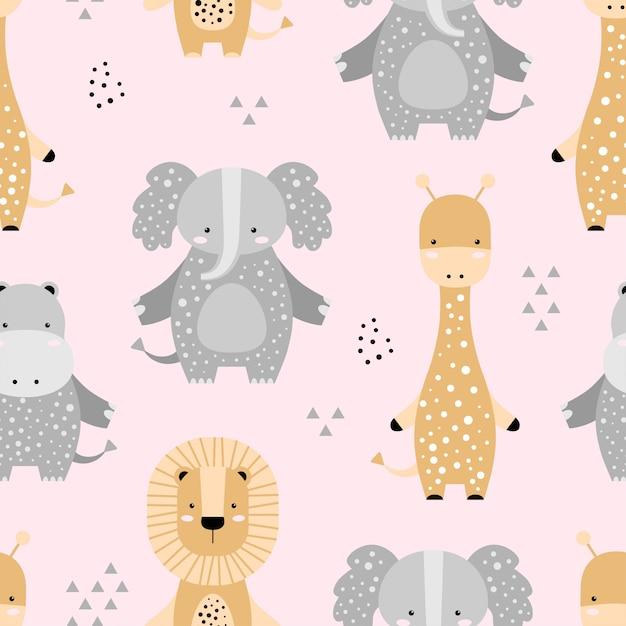 Modello senza cuciture con elefanti carino, leone, giraffa, ippopotamo Vettore Premium