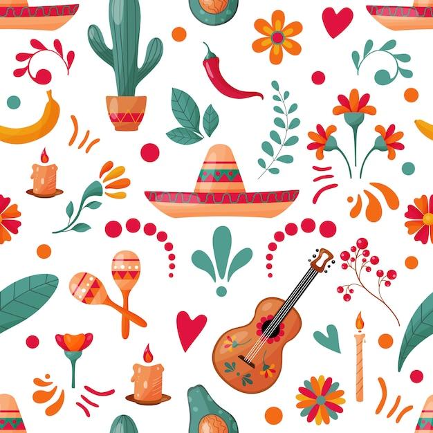 Modello senza cuciture con elementi messicani e decorazioni floreali Vettore Premium