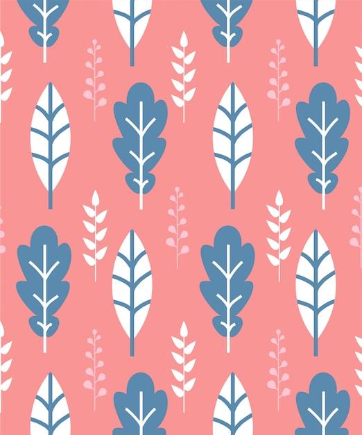 Modello senza cuciture con foglie bianche e blu su sfondo rosa Vettore Premium