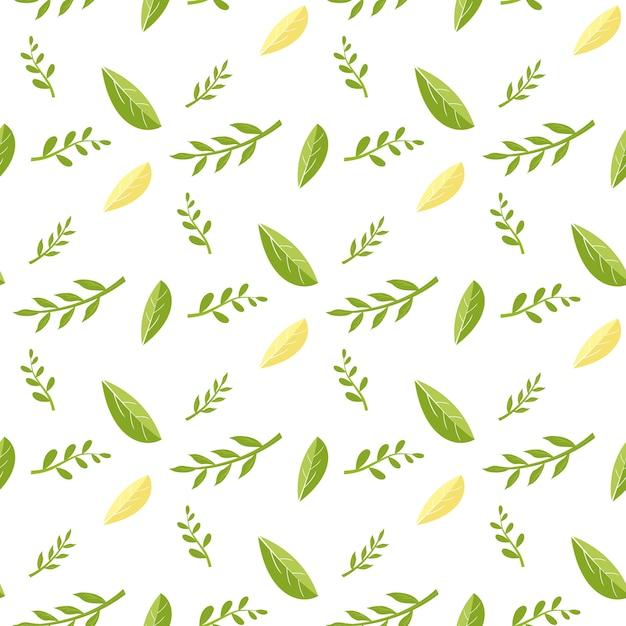 Modello senza cuciture con foglie fresche di verde e giallo. Vettore Premium