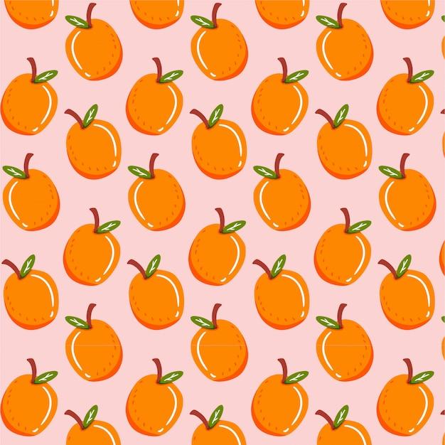 Modello senza cuciture con frutta arancione Vettore Premium