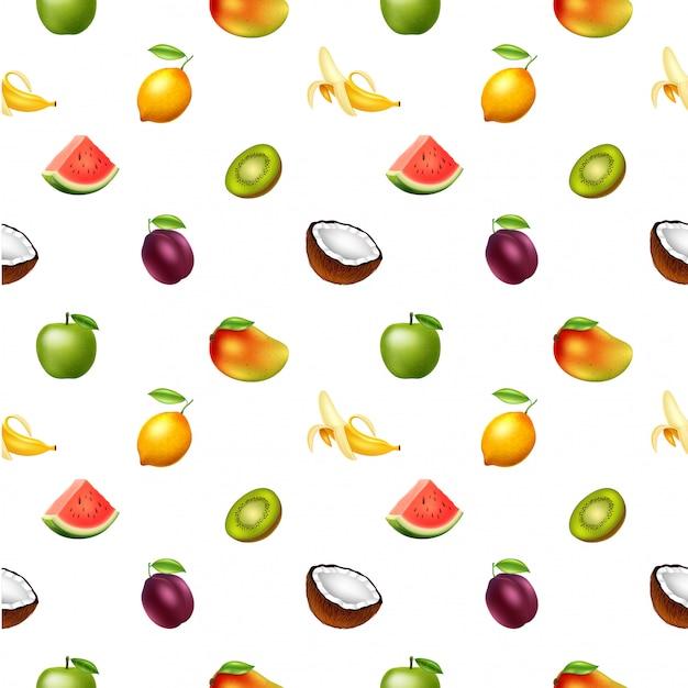 Modello senza cuciture con i frutti, illustrazione vettoriale Vettore Premium